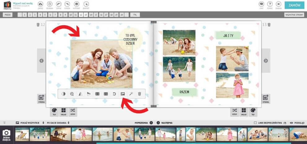 Ustawianie zdjęcia w tle w fotoksiążce