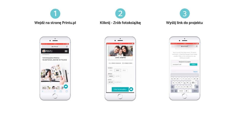 Trzy kroki pokazujące jak wgrać zdjęcia z telefonu