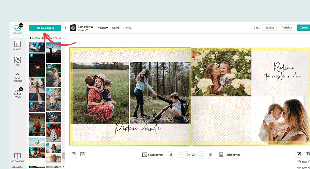 Dodawanie zdjęć do edytora fotoksiążki