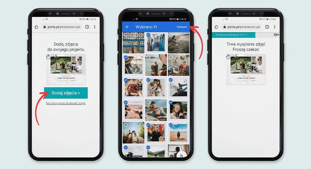 Przesyłanie zdjęć z telefonu do projektu fotoksiążki